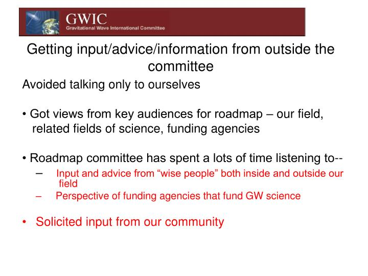 Getting input/advice/information from outside the committee