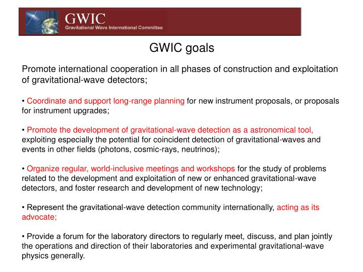GWIC goals