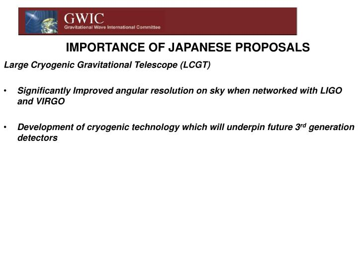 IMPORTANCE OF JAPANESE PROPOSALS