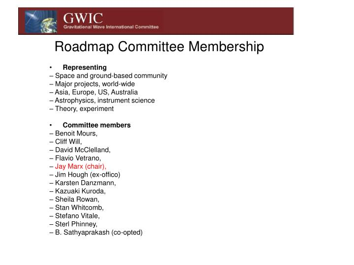 Roadmap Committee Membership
