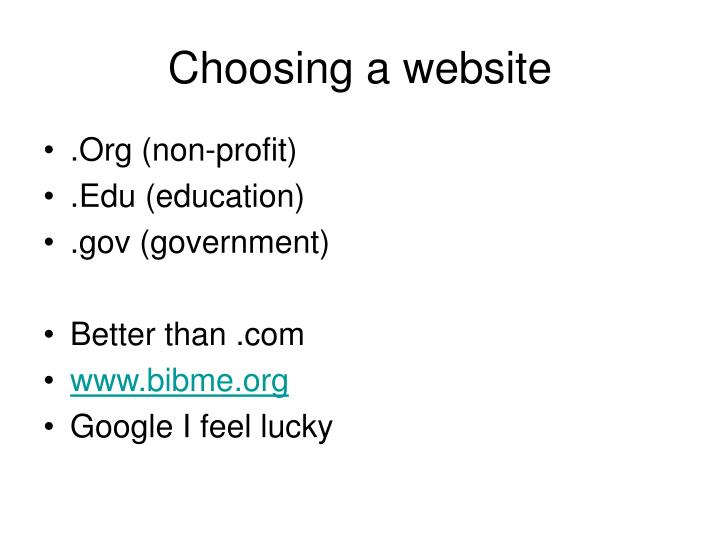 Choosing a website