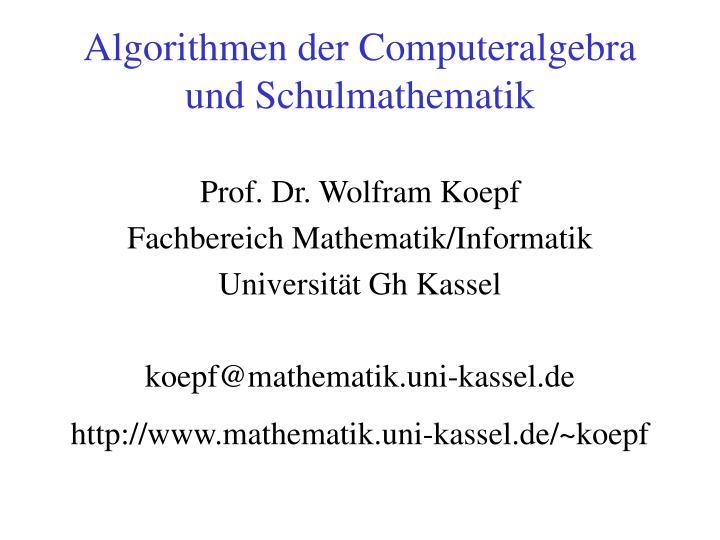 Algorithmen der Computeralgebra und Schulmathematik