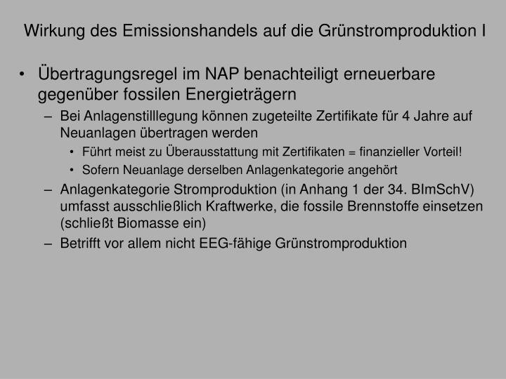Wirkung des Emissionshandels auf die Grünstromproduktion I