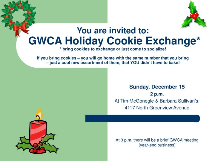 Sunday december 15 2 p m at tim mcgonegle barbara sullivan s 4117 north greenview avenue