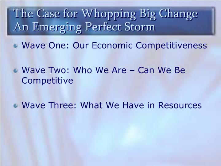 The Case for Whopping Big Change  An Emerging Perfect Storm