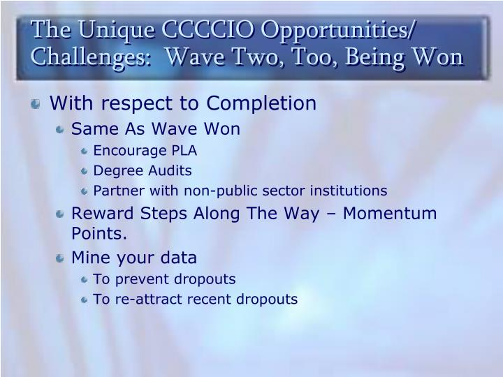 The Unique CCCCIO Opportunities/ Challenges:  Wave Two, Too, Being Won