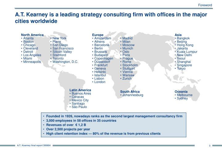 A t kearney is a leading strategy consulting firm with offices in the major cities worldwide
