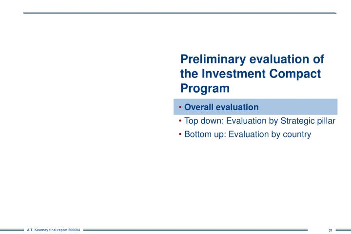 Preliminary evaluation of the Investment Compact Program
