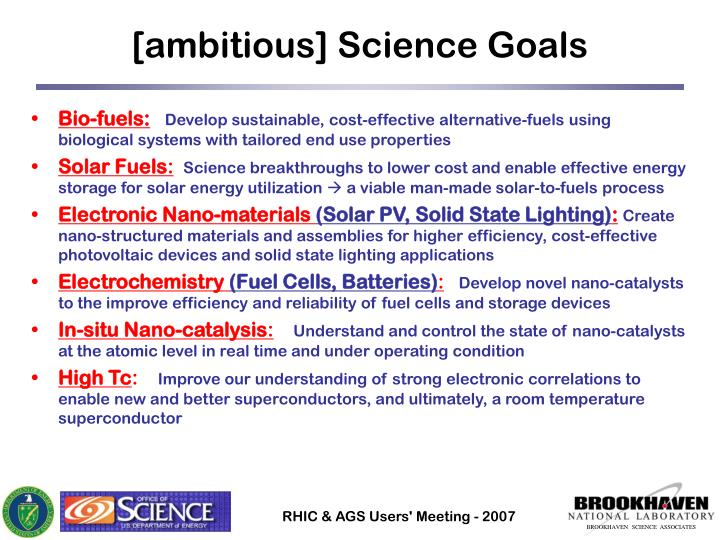 [ambitious] Science Goals