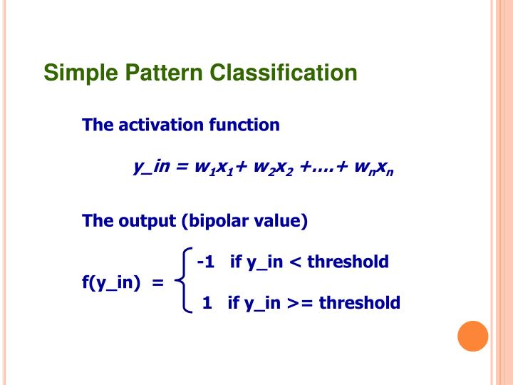 Simple Pattern Classification