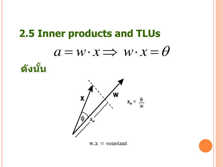 2.5 Inner products and TLUs