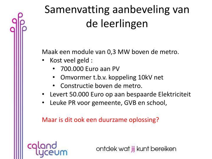Maak een module van 0,3 MW boven de metro.