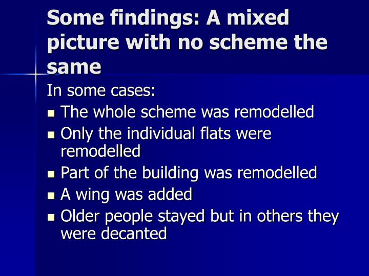 Some findings: A mixed picture with no scheme the same