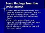 some findings from the social aspect