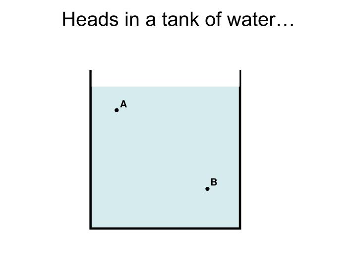 Heads in a tank of water…