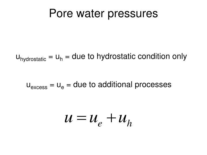 Pore water pressures