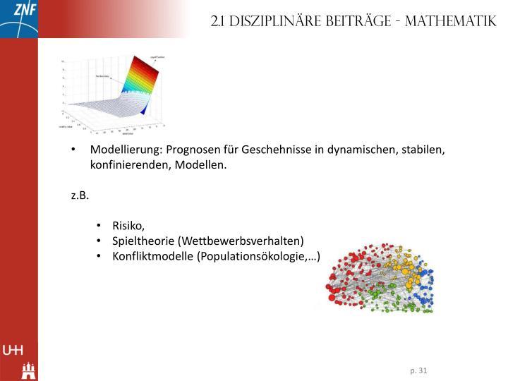 2.1 Disziplinäre Beiträge - Mathematik