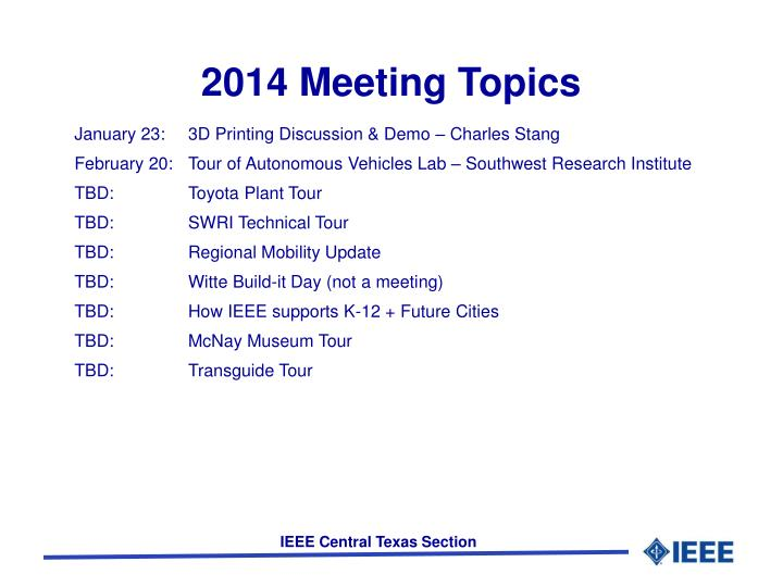 2014 Meeting Topics