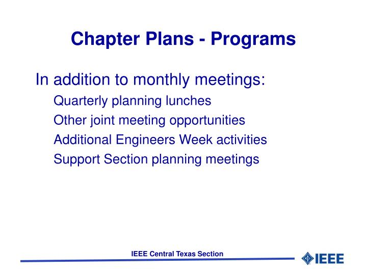 Chapter Plans - Programs