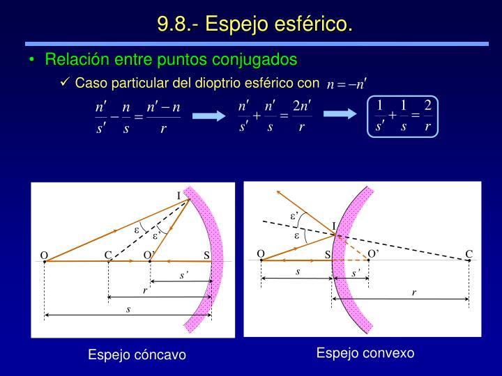 Caso particular del dioptrio esférico con