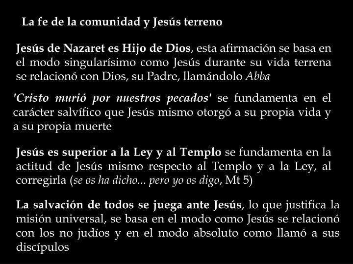 La fe de la comunidad y Jesús terreno