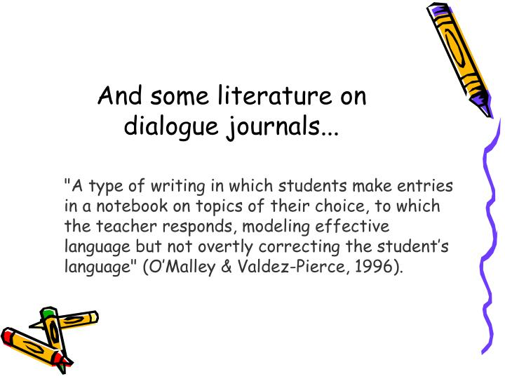 And some literature on dialogue journals...