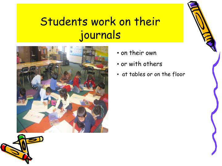 Students work on their journals