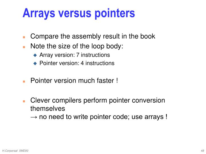 Arrays versus pointers