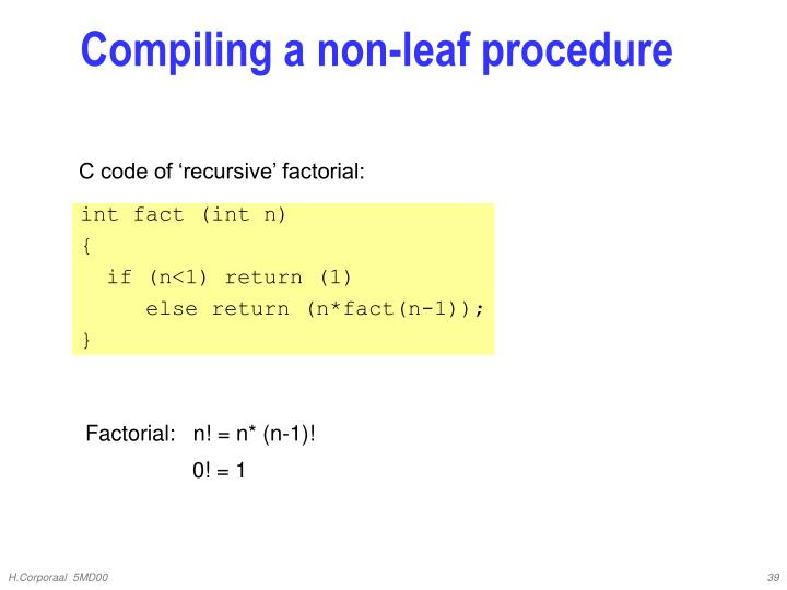 Compiling a non-leaf procedure