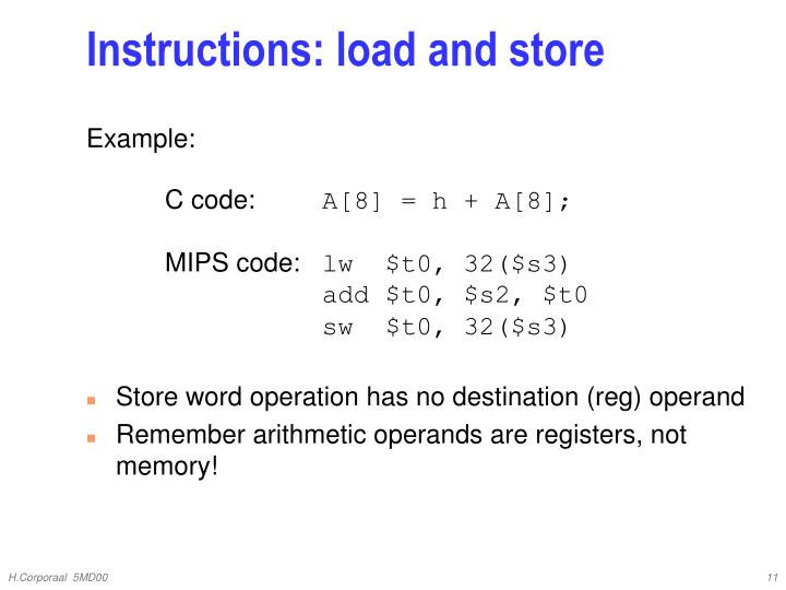 Instructions: load and store