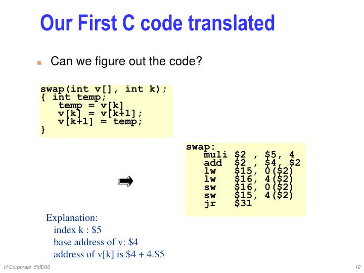 Our First C code translated