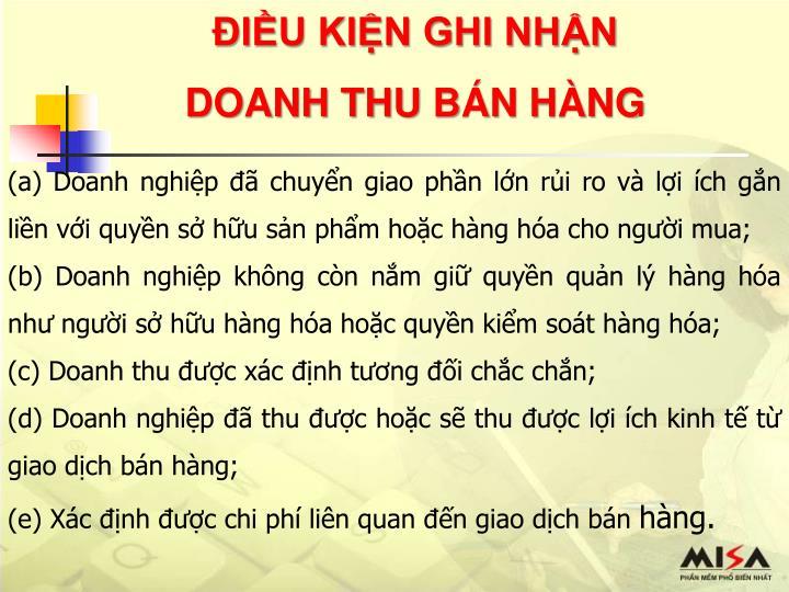 ĐIỀU KIỆN GHI NHẬN