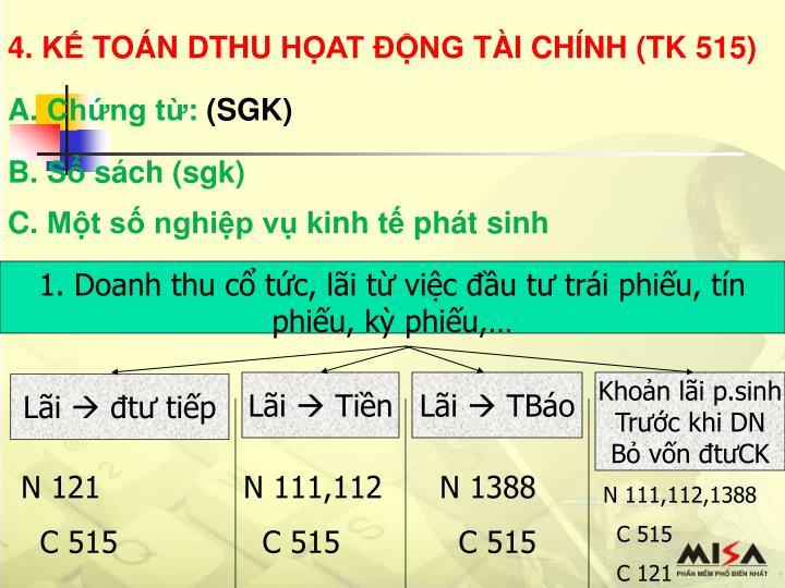 4. KẾ TOÁN DTHU HỌAT ĐỘNG TÀI CHÍNH (TK 515)