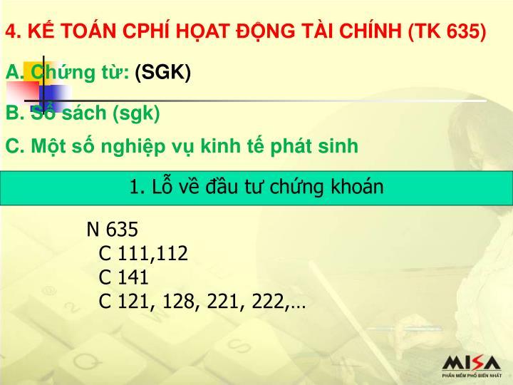 4. KẾ TOÁN CPHÍ HỌAT ĐỘNG TÀI CHÍNH (TK 635)