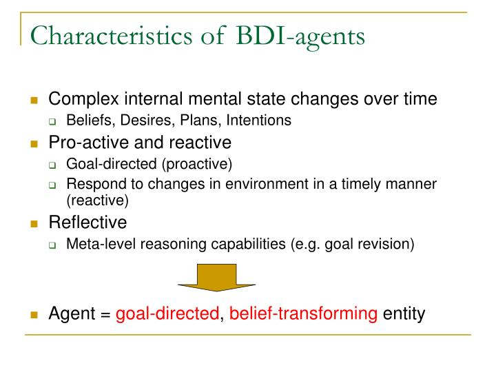 Characteristics of BDI-agents