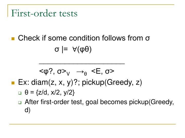 First-order tests