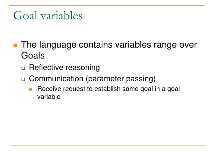 Goal variables
