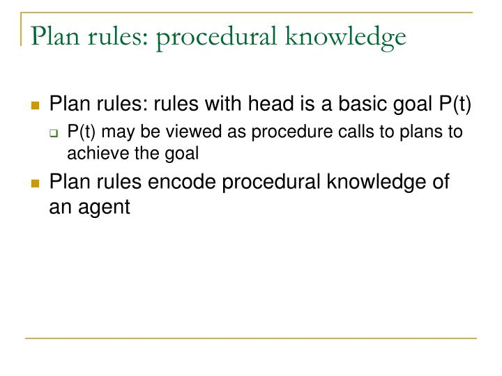 Plan rules: procedural knowledge