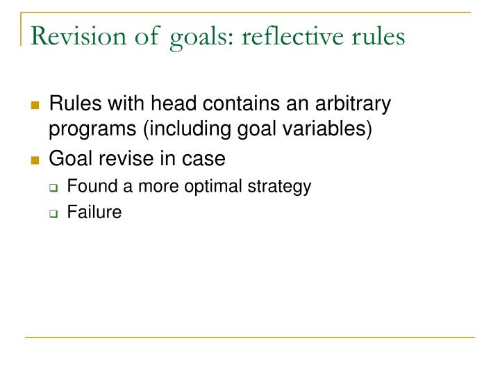 Revision of goals: reflective rules