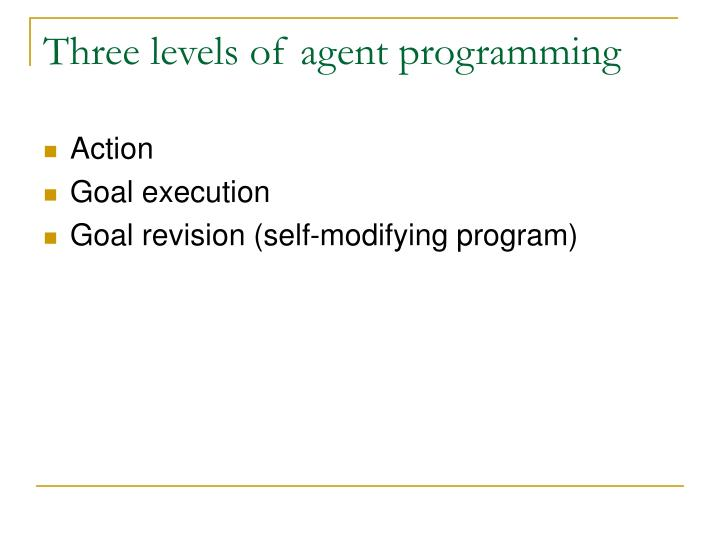 Three levels of agent programming
