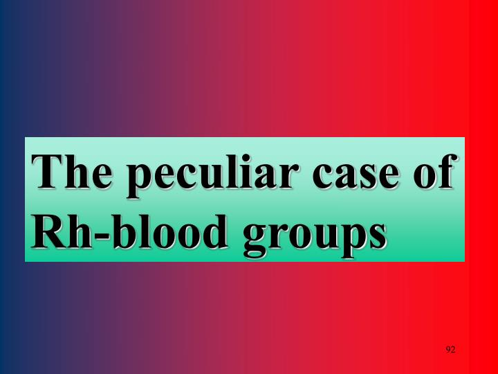 The peculiar case of Rh-blood groups