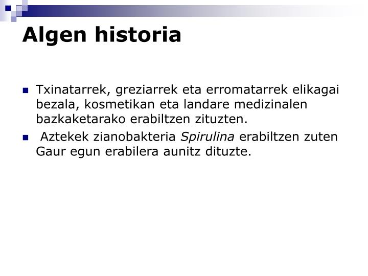 Algen historia