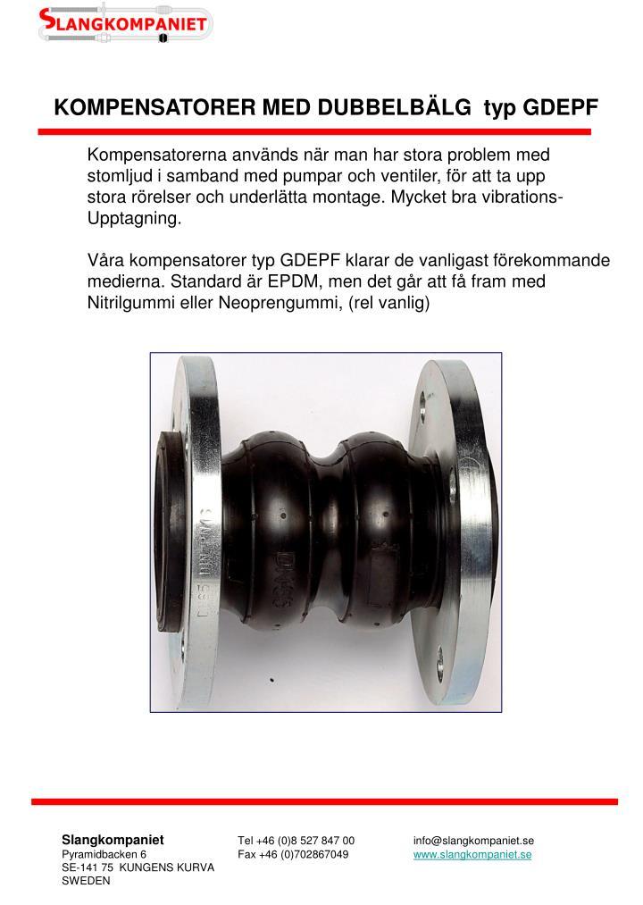 KOMPENSATORER MED DUBBELBÄLG  typ GDEPF