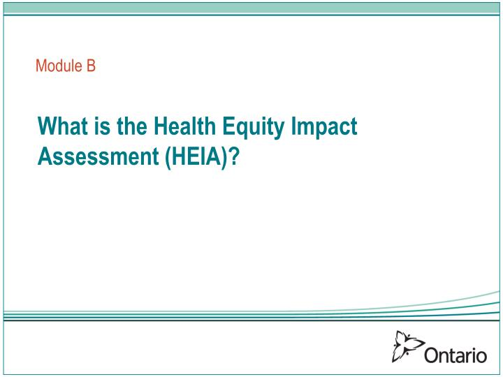What is the health equity impact assessment heia