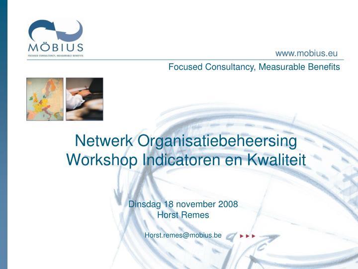 netwerk organisatiebeheersing workshop indicatoren en kwaliteit