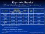 keystroke results different subjects same conditions using a randomized set of 500 inter class data
