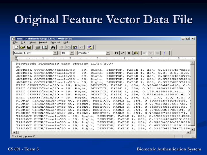 Original Feature Vector Data File