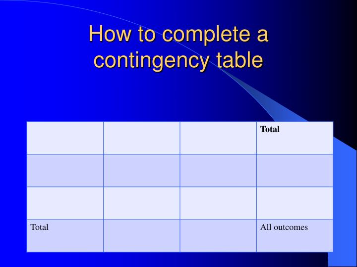 How to complete a contingency table