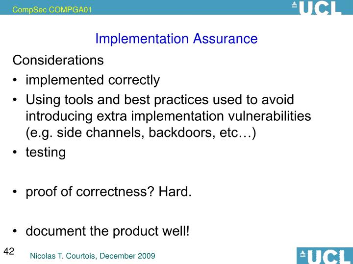 Implementation Assurance