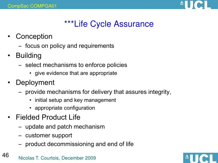 ***Life Cycle Assurance